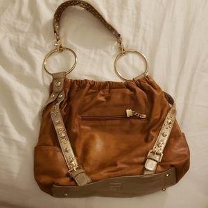 Brown and silver lethar kathy von zeeland bag